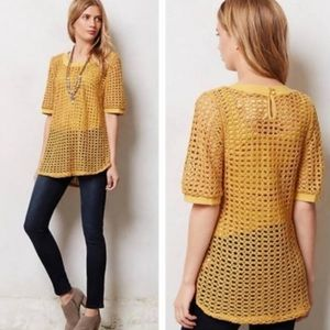 Anthro Angel of the North Senoia mustard pullover